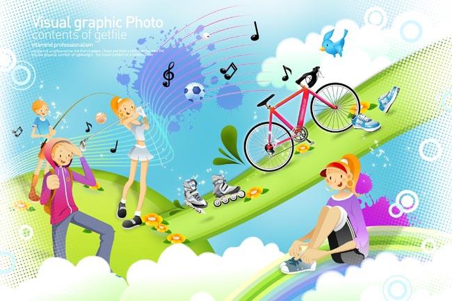 自行车主题手绘海报