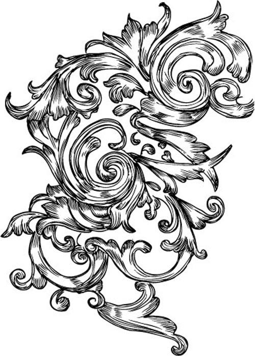 5款欧式花纹矢花边量素材