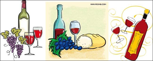 6款葡萄酒主题矢量素材