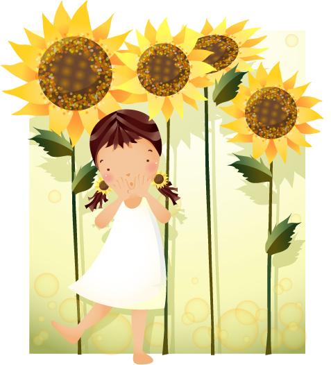 卡通女孩与向日葵 - 爱图网设计图片素材下载