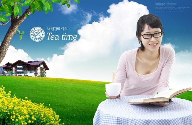 美女看书喝茶图片