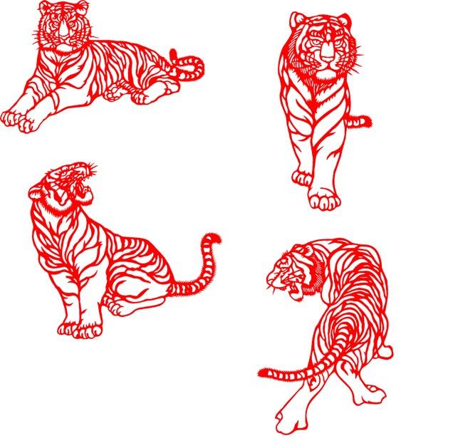 剪纸图案大全简单图解步骤老虎