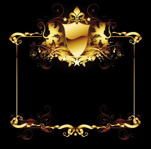 盾牌五角星欧式边框矢量素材