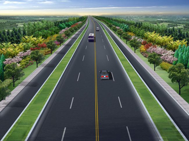 公路俯视手绘