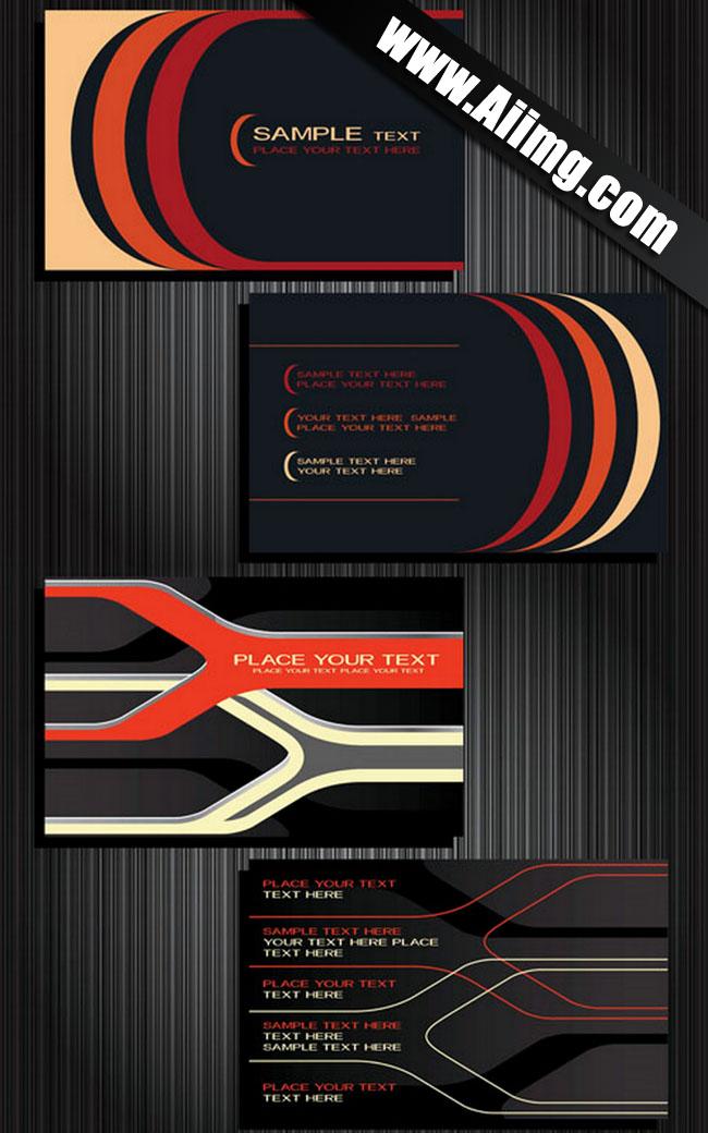 eps格式名片卡片背景名片模板卡片背景黑色条纹商务名片矢量素材