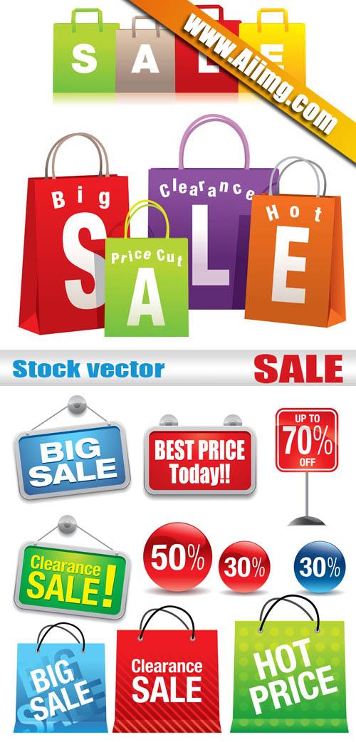 黄色标签矢量素材  关键字: ai格式商场促销购物袋挂牌sale打折矢量