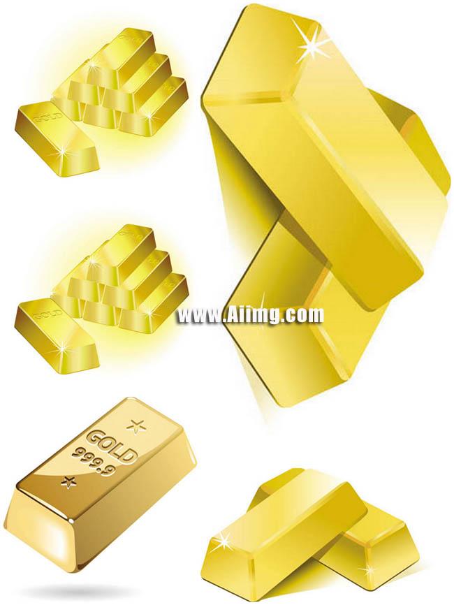 eps金条金砖金元宝黄金金色金人金子货币钱