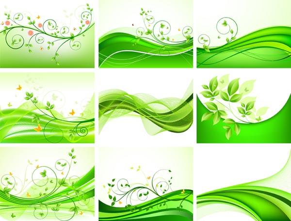 清新绿色花纹背景矢量素材 - 爱图网设计图片素材下载