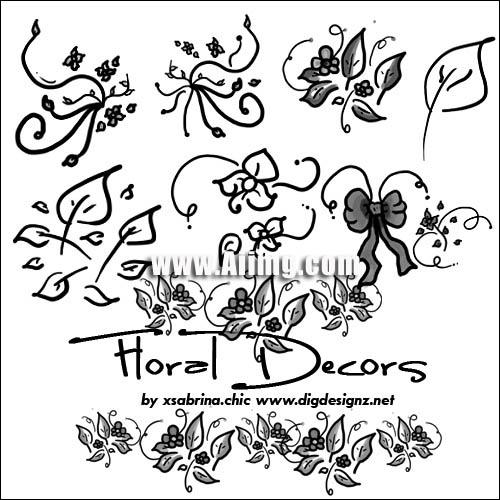 涂鸦花朵笔刷 - 爱图网设计图片素材下载