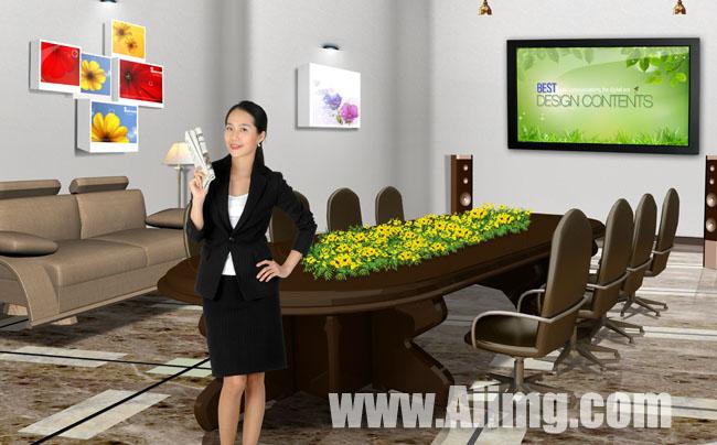 素材/会议室女人商务素材