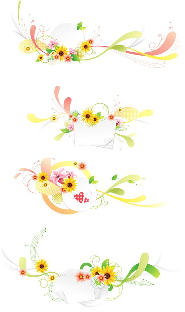 华文字体设计矢量素材 精美的花纹设计矢量素材 抽象对象矢量背景素材