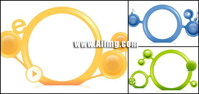立体圆框矢量素材