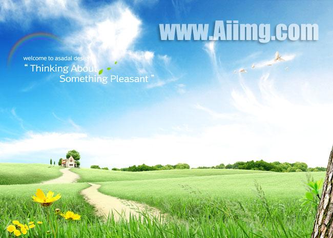 关键字: 草地小径风景野花树干绿色小草树林大树房屋彩虹蓝色白云psd