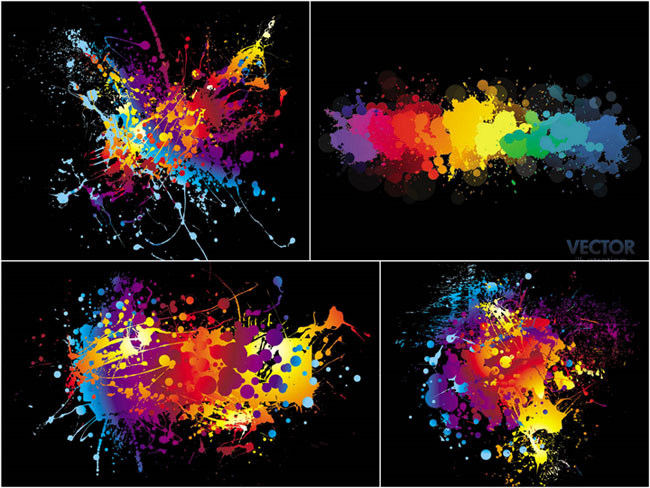 彩色喷溅效果矢量素材