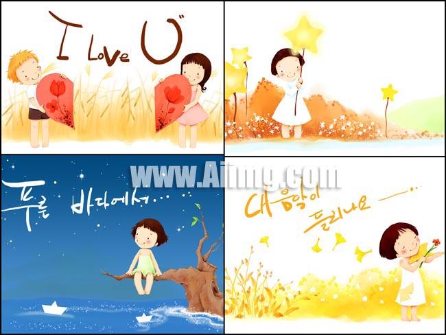 韩国彩绘卡通儿童psd图片素材1