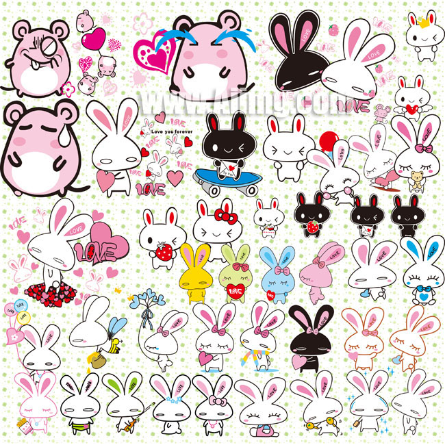可爱小兔子psd素材