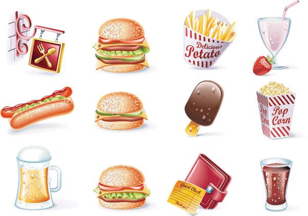 甜品和饮料矢量素材图片