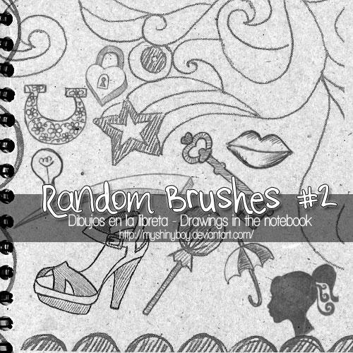 唇印,女性头像,伞,棒棒糖等绘画笔刷