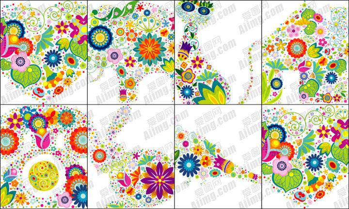 花朵组成的图案矢量素材 设计元素矢量素材 矢量素材设计
