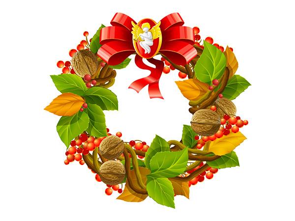 > 素材信息   关键字: 圣诞节花环圣诞气氛绿色丝带圣诞节装饰树叶