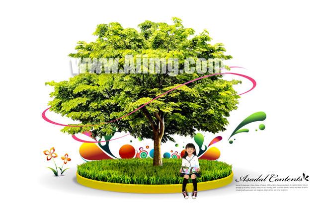 环保大树与可爱小女孩psd素材