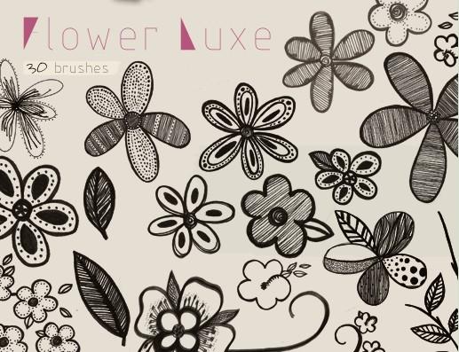 手绘花朵笔刷 - 爱图网设计图片素材下载