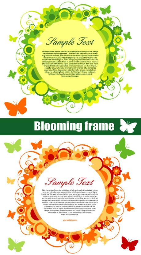 炫彩植物花纹文本框背景蝴蝶圆形唯美花边