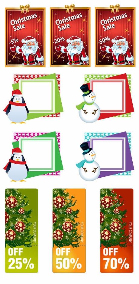 圣诞老人挂牌商业促销文本框吊牌banner圣诞雪人边框圣诞树矢量素材