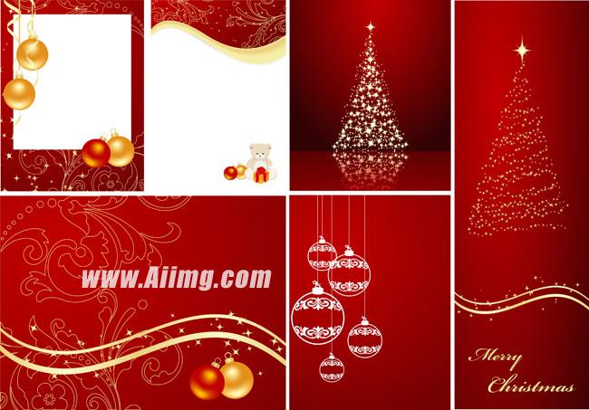 圣诞节红色喜庆背景矢量素材