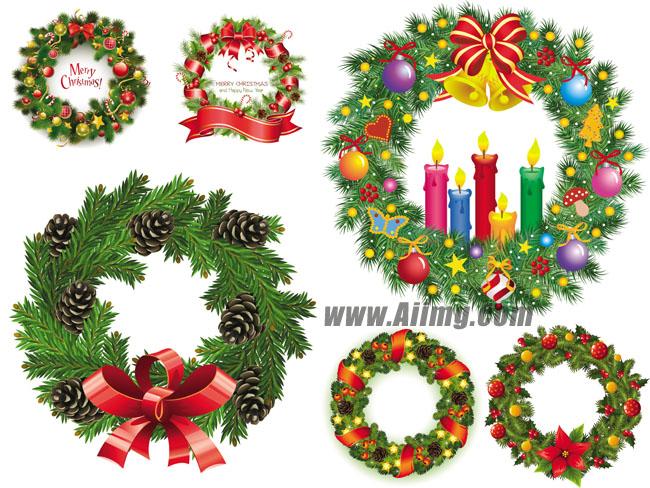 圣诞节装饰品花环蜡烛矢量素材