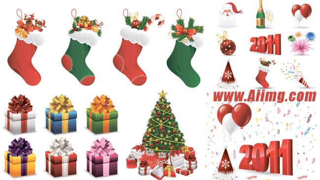 礼物袜子圣诞节用品矢量素材