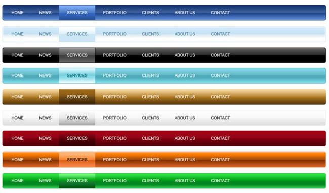 网页导航条设计psd模板素材