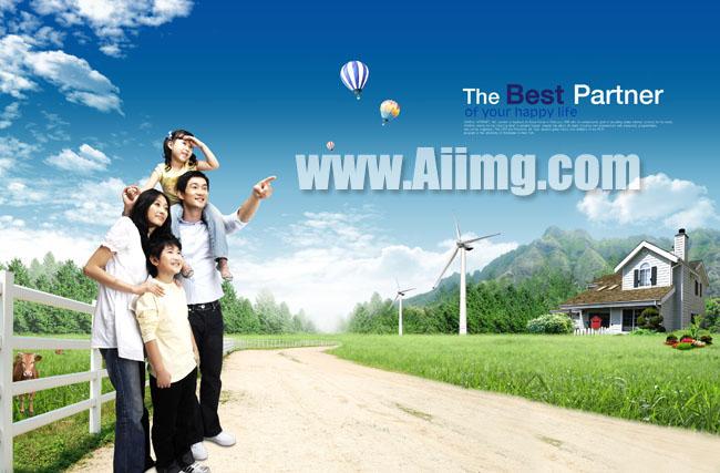 幸福家庭风车汽球别墅风景图片图片素材psd分层素材