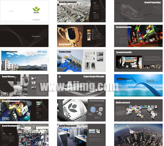 高档企业宣传册设计矢量素材 简洁广告公司画册设计矢量素材 中国风企