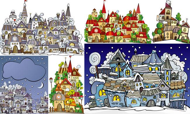 卡通城堡小镇矢量素材