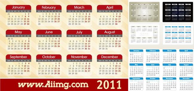 2011兔年日历月历表矢量素材