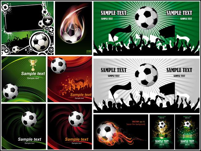 足球海报设计元素与背景矢量素材