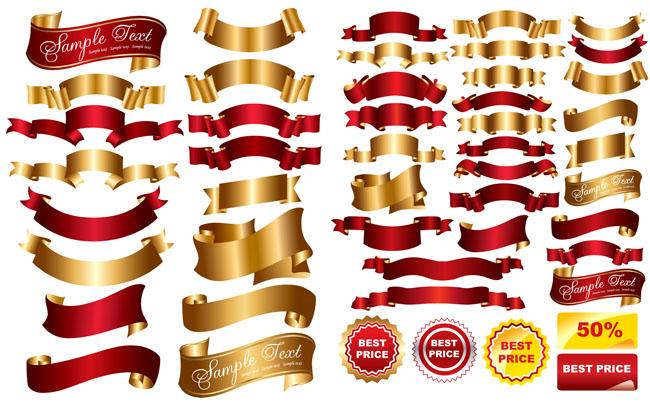 素材矢量图设计元素红色飘带金色飘带红色banner金色banner红色丝带