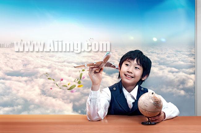 飞机男孩图片地球桌子图片素材设计效果图片模板psd