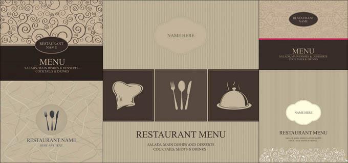 餐厅菜谱封面和背景设计矢量