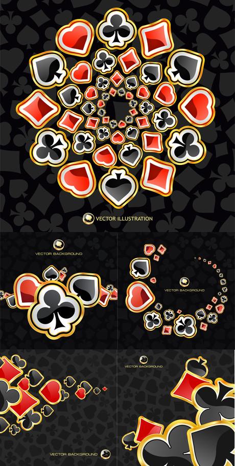 扑克牌花色背景图案矢量素材 - 爱图网设计图片素材
