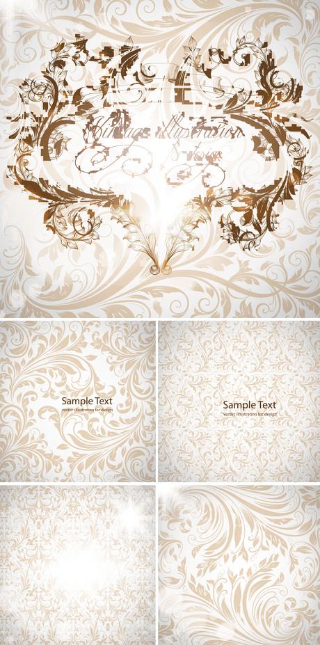 古典底纹墙纸背景矢量素材