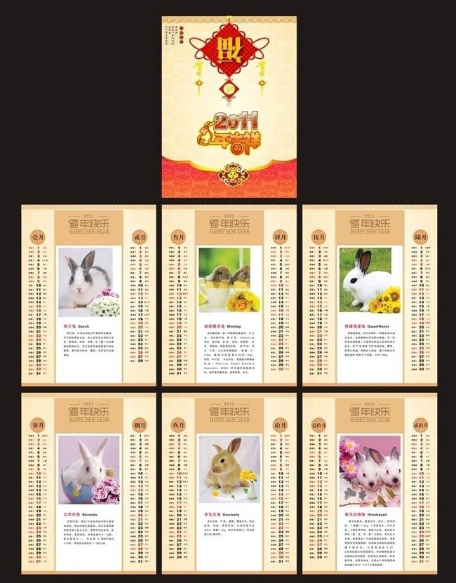 2011兔年挂历设计矢量素材