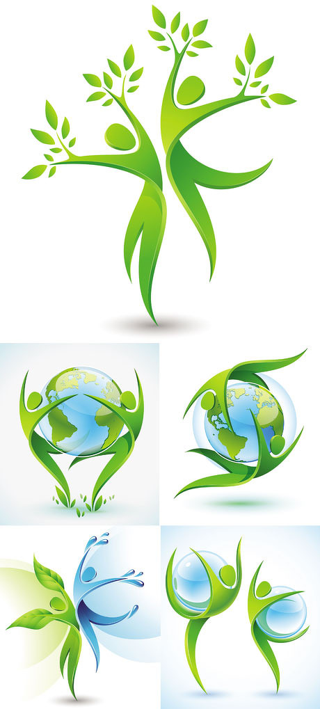 矢量素材 设计元素 > 素材信息   关键字: 环保绿色蓝色图标立体小人