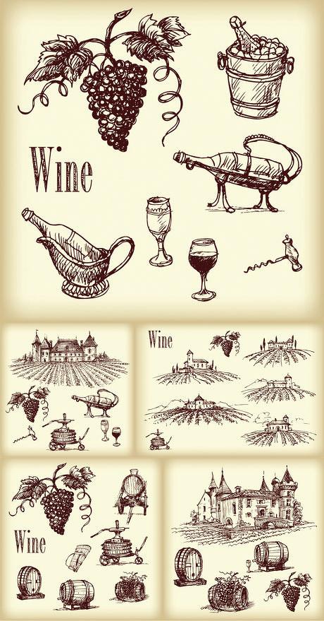 手绘葡萄酒矢量素材
