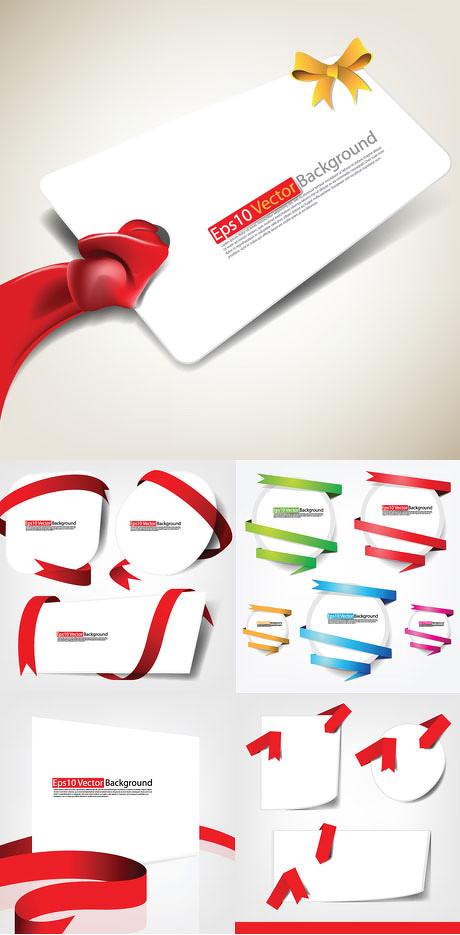 精美缎带卡片设计矢量素材