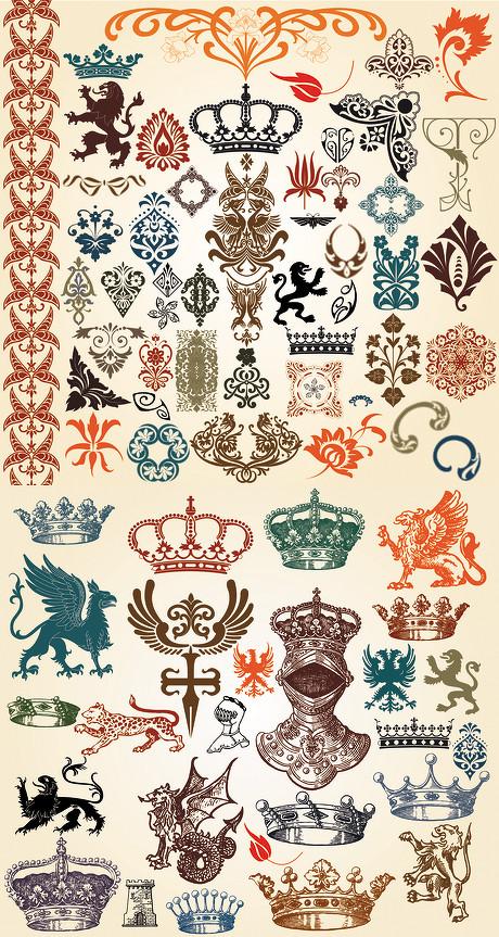 欧式古典复古彩色图腾花纹线条柔美线框