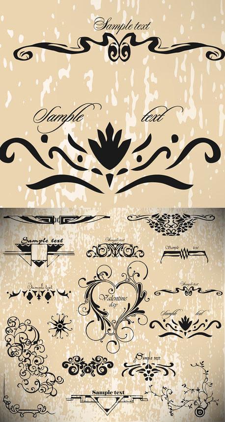 情人节复古欧式哥特式花纹底纹装饰爱心