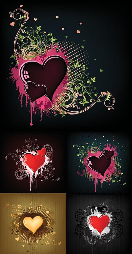 情人节心形花纹背景矢量素材