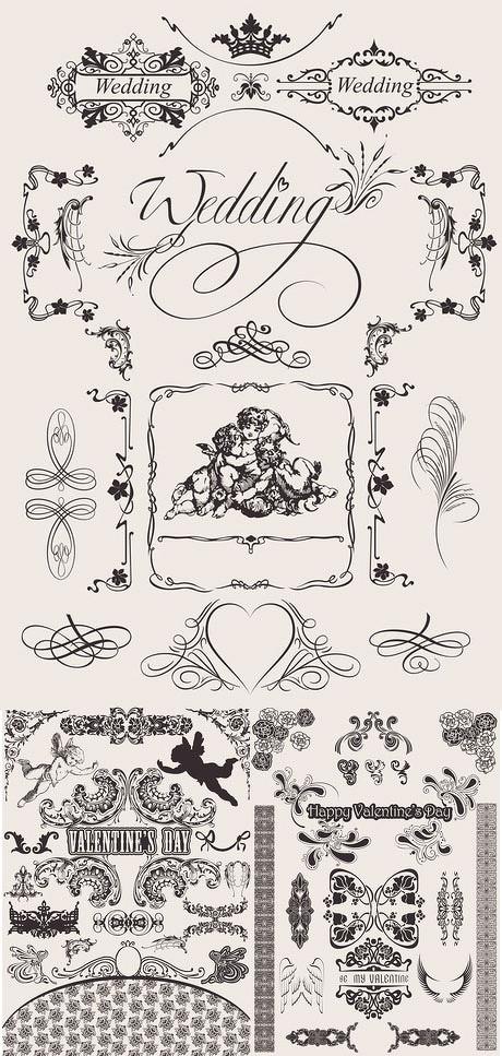 欧式古典花纹装饰矢量素材